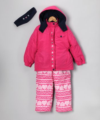 Pink Heart Coat Set - Girls