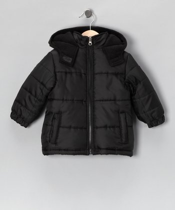 Black Puffer Coat - Boys