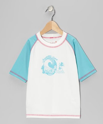 Turquoise Wave Rashguard - Infant, Toddler & Girls
