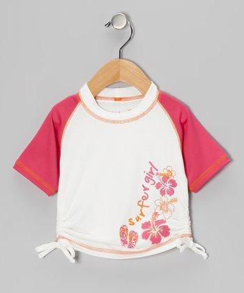 Fuchsia Hibiscus Rashguard - Girls