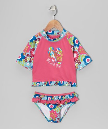 Fuchsia Floral Rashguard Set - Infant