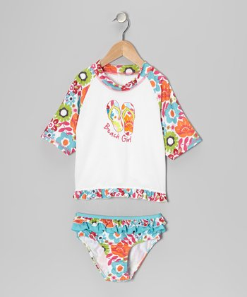 White Floral Rashguard Set - Infant