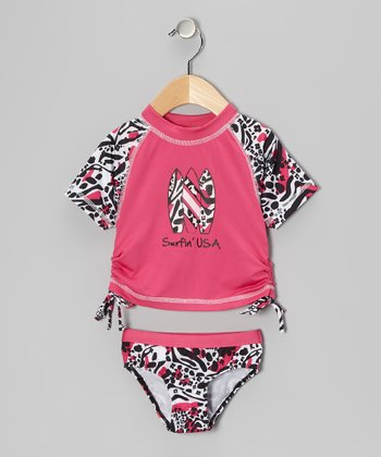 Fuchsia 'Surfin'' Rashguard & Bottoms- Infant, Toddler & Girls