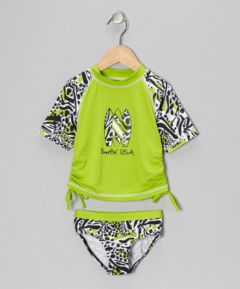 Lime 'Surfin' USA' Rashguard & Bottoms - Infant, Toddler & Girls