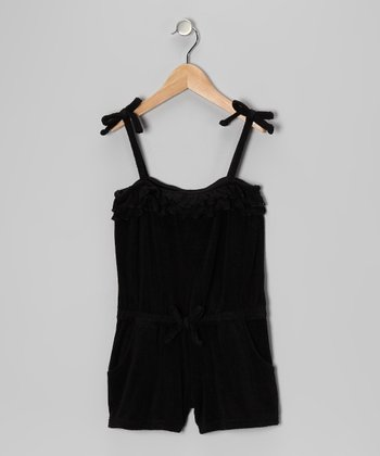 Black Ruffle Romper Cover-Up - Girls