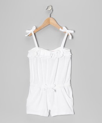 White Ruffle Romper Cover-Up - Girls
