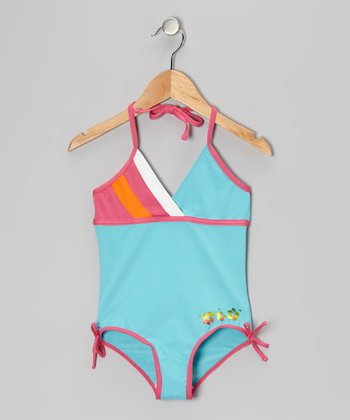 Turquoise Stripe One-Piece - Girls