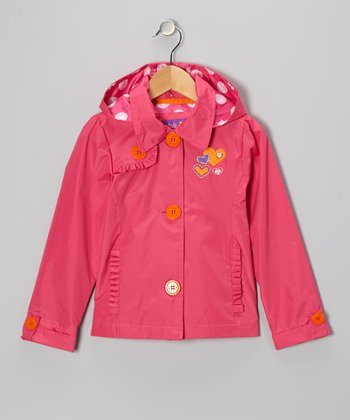 Fuchsia Heart Ruffle Jacket - Toddler & Girls