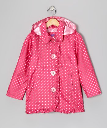 Fuchsia Polka Dot Ruffle Jacket - Toddler & Girls