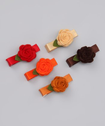 Autumn Rosette Clip Set