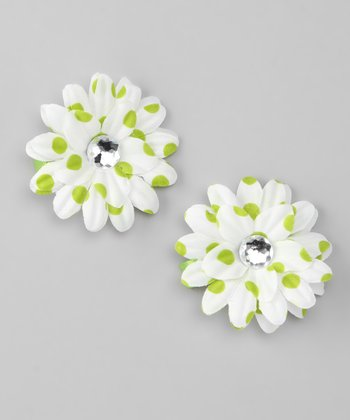 Lime Green Polka Dot Flower Clip Set