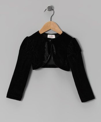 Black Velour Puff-Sleeve Bolero - Infant, Toddler & Girls