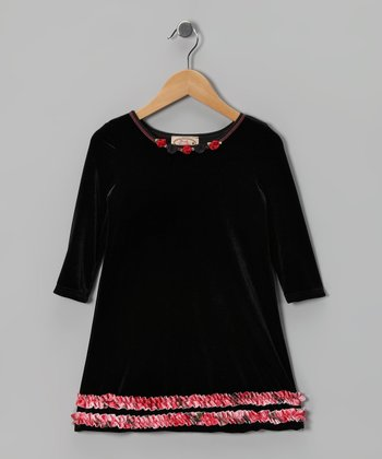 Black Ruffle Velour Swing Dress - Toddler & Girls