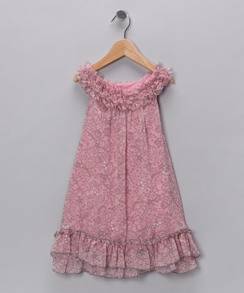 Pink & Gray Ruffle Yoke Dress - Infant