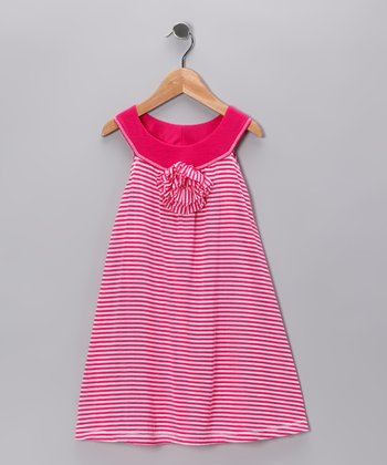 Pink Stripe Yoke Dress - Girls