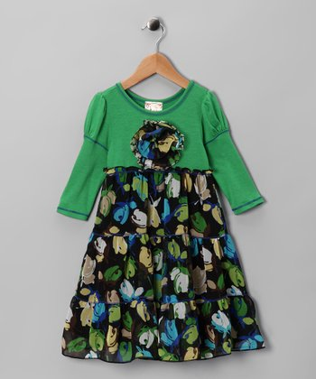 Green Floral Tiered Dress - Girls