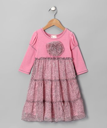 Pink & Gray Daisy Tiered Dress - Toddler