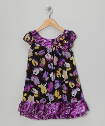 Black & Purple Blossom Dress - Toddler