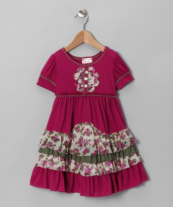 Fuchsia Daisy Tiered Ruffle Dress - Toddler