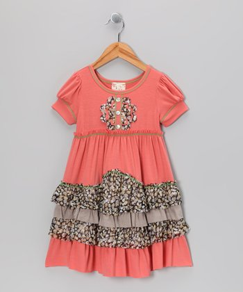 Coral Daisy Tiered Ruffle Dress - Girls