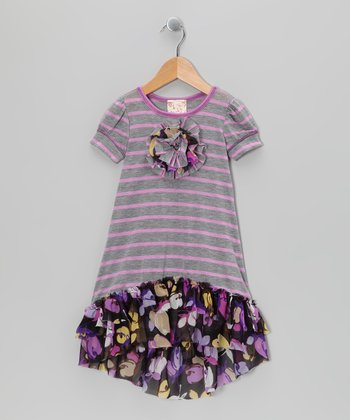 Gray & Violet Daisy Stripe Hi-Low Dress - Toddler & Girls