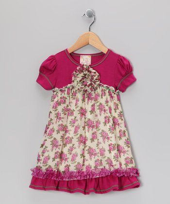 Ivory & Fuchsia Rose Blossom Dress - Girls