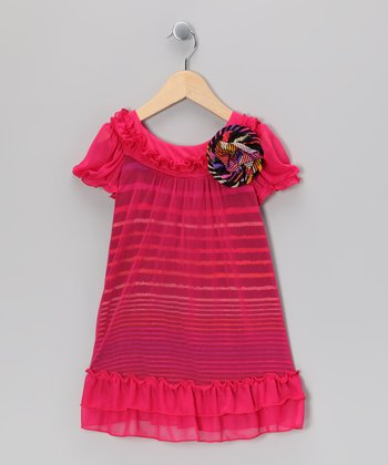 Fuchsia Stripe Overlay Dress - Toddler