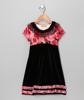 Black & Pink Rose Ruffle Velour Dress - Toddler