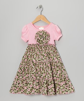 Pink & Gray Floral Tiered Dress - Toddler