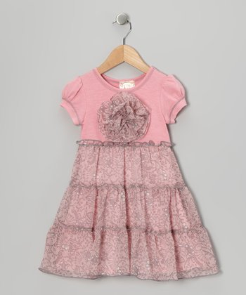 Pink & Gray Tiered Dress - Girls