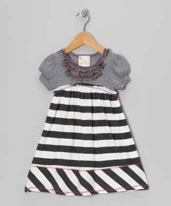 White & Charcoal Stripe Ruffle Dress - Girls