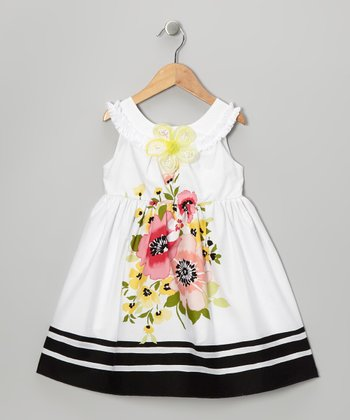 Black & Yellow Floral A-Line Dress - Toddler