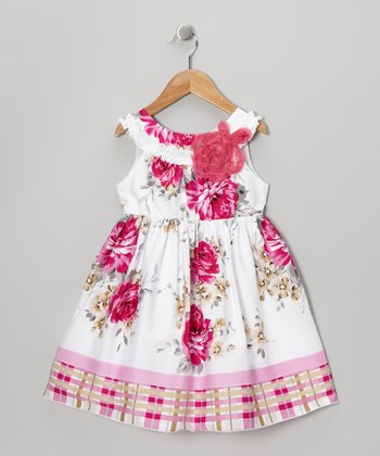 Fuchsia Rose A-Line Dress - Toddler