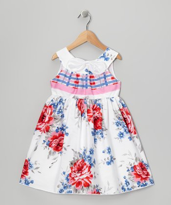Red & Blue Rose A-Line Dress - Toddler