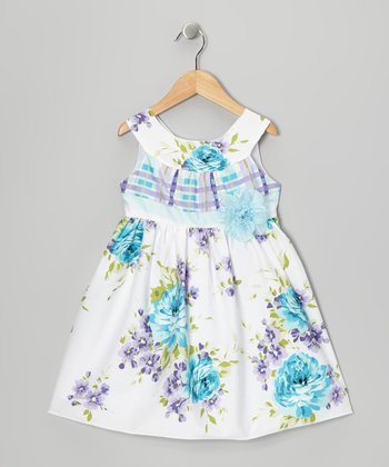 Purple & Turquoise Rose A-Line Dress - Toddler