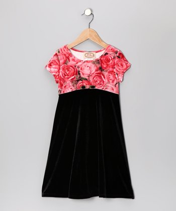 Black & Pink Rose Velour Dress - Toddler & Girls