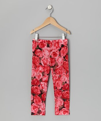 Red Rose Velour Legging - Toddler & Girls