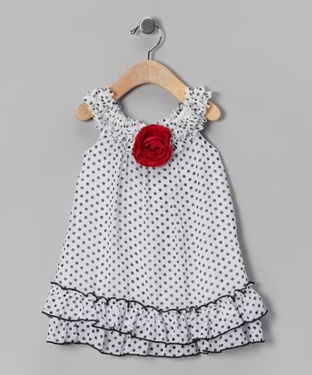 White & Black Polka Dot Yoke Dress - Infant & Toddler