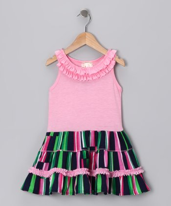 Pink & Navy Ruffle Dress - Girls