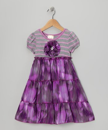 Purple & Gray Daisy Tiered Dress - Toddler & Girls