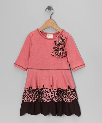 Coral Cheetah Scallop Ruffle Dress - Toddler & Girls