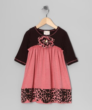 Coral & Brown Leopard Scallop Dress - Girls