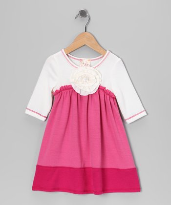 Pink & Ivory Babydoll Dress - Girls