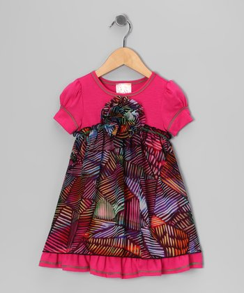 Fuchsia Rainbow Leaf Dress - Toddler & Girls