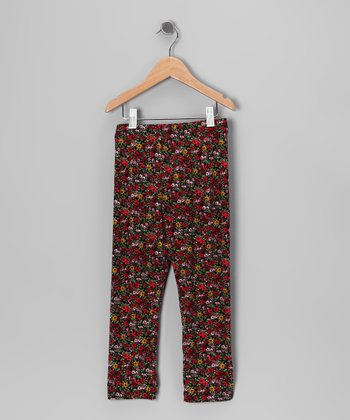 Black & Red Floral Leggings - Toddler