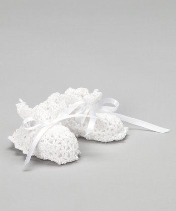 White Scallop Crocheted Booties