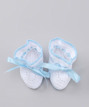 White & Blue Crocheted Booties