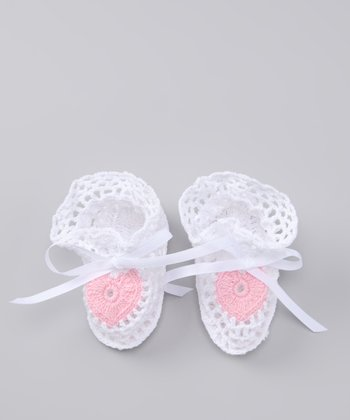 White & Pink Heart Crocheted Booties
