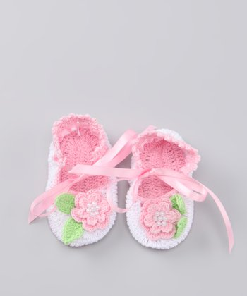 Pink Leaf Flower Crocheted Mary Jane Bootie