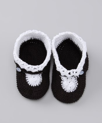 Black & White Crocheted Booties